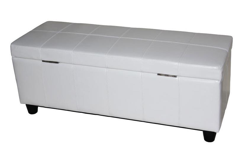 aufbewahrungs truhe sitzbank kriens leder kunstleder 112x45x45cm wei. Black Bedroom Furniture Sets. Home Design Ideas