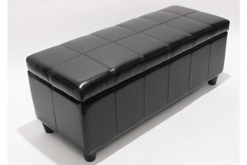 bank sitzbank mit aufbewahrung kriens leder kunstleder 112x45x45cm schwarz. Black Bedroom Furniture Sets. Home Design Ideas