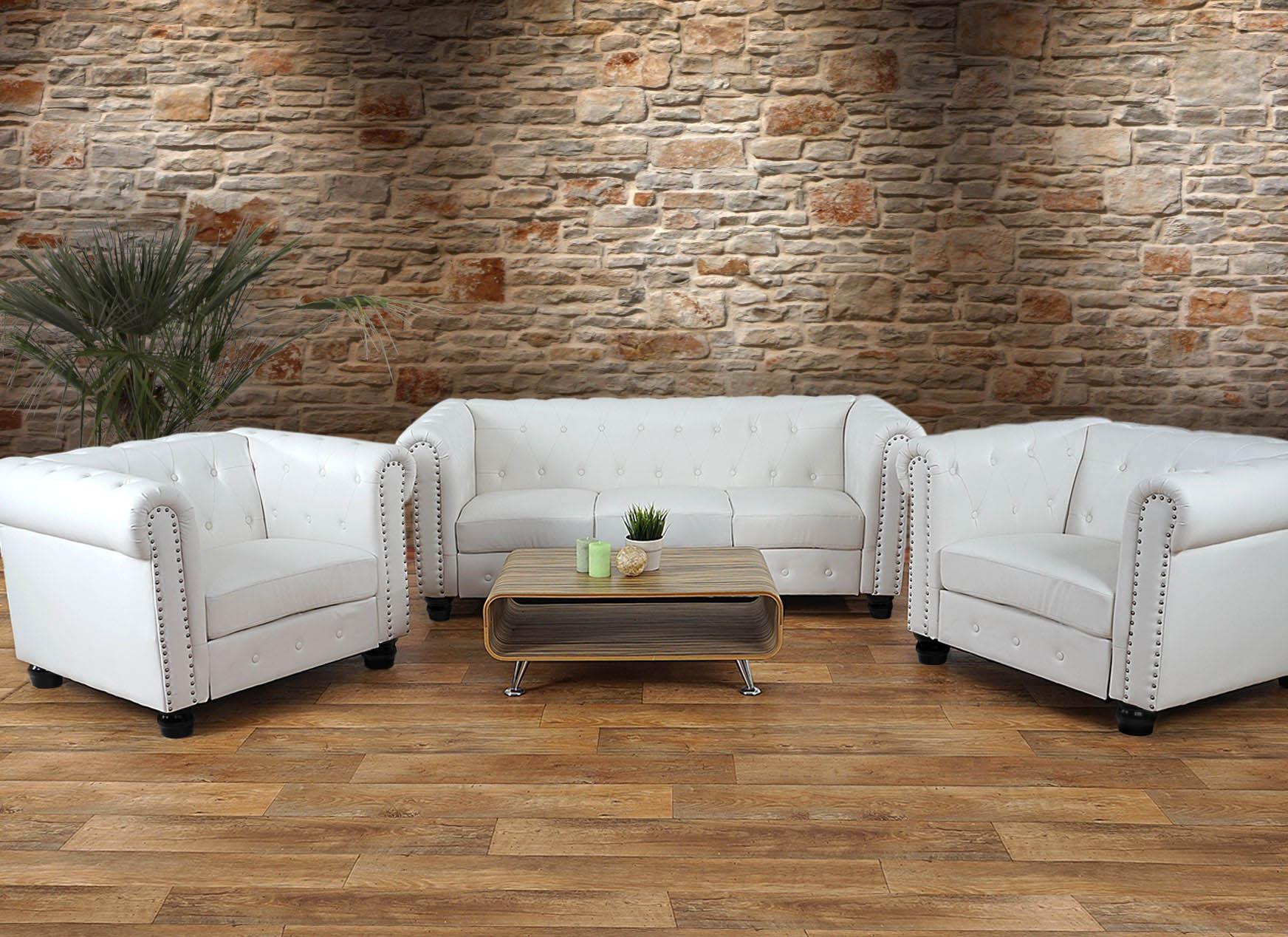 luxus 3 1 1 sofagarnitur chesterfield couch kunstleder. Black Bedroom Furniture Sets. Home Design Ideas