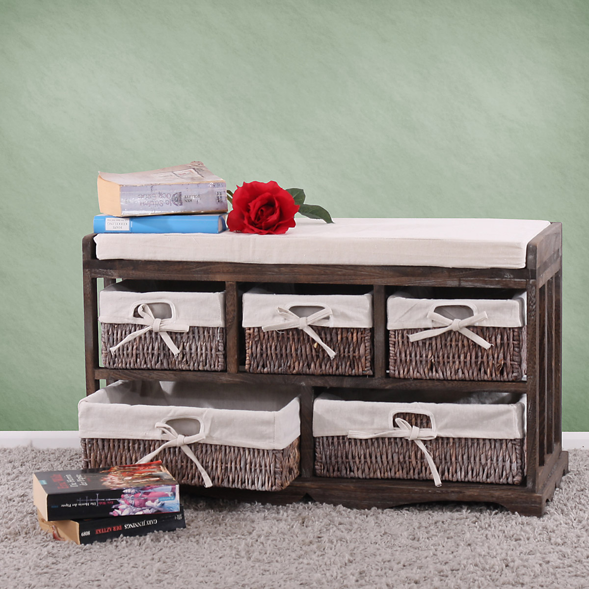 commode banc 5 paniers 77x36x45cm shabby vintage blanc gris ou marron ebay. Black Bedroom Furniture Sets. Home Design Ideas