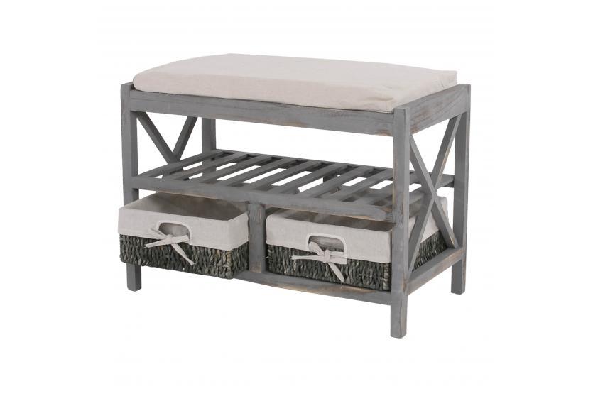 schuhregal sitzbank 45x65x34cm shabby look vintage wei braun grau blau ebay. Black Bedroom Furniture Sets. Home Design Ideas