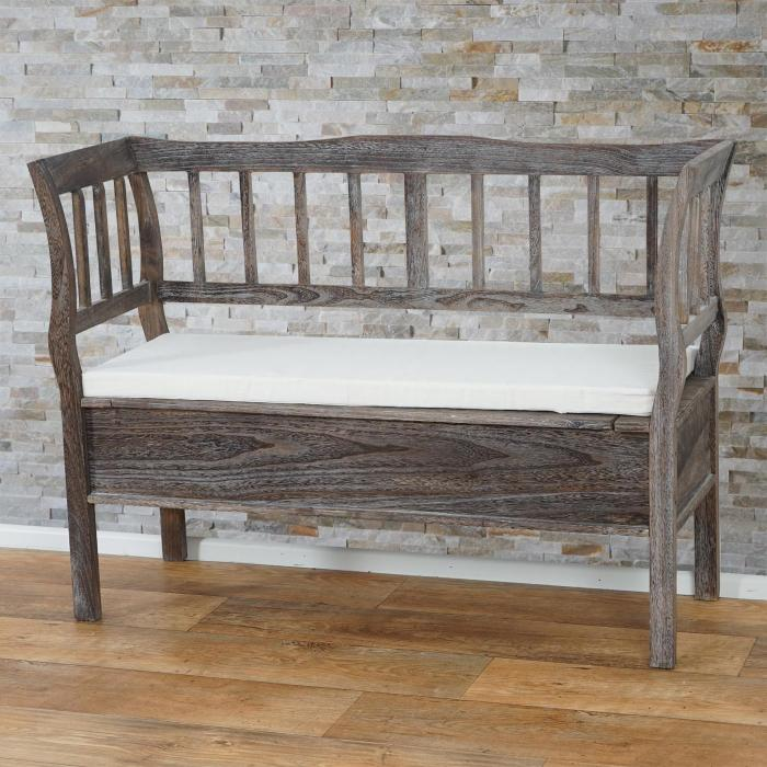 sitzbank t207 bank truhenbank staufach kissen braun shabby. Black Bedroom Furniture Sets. Home Design Ideas