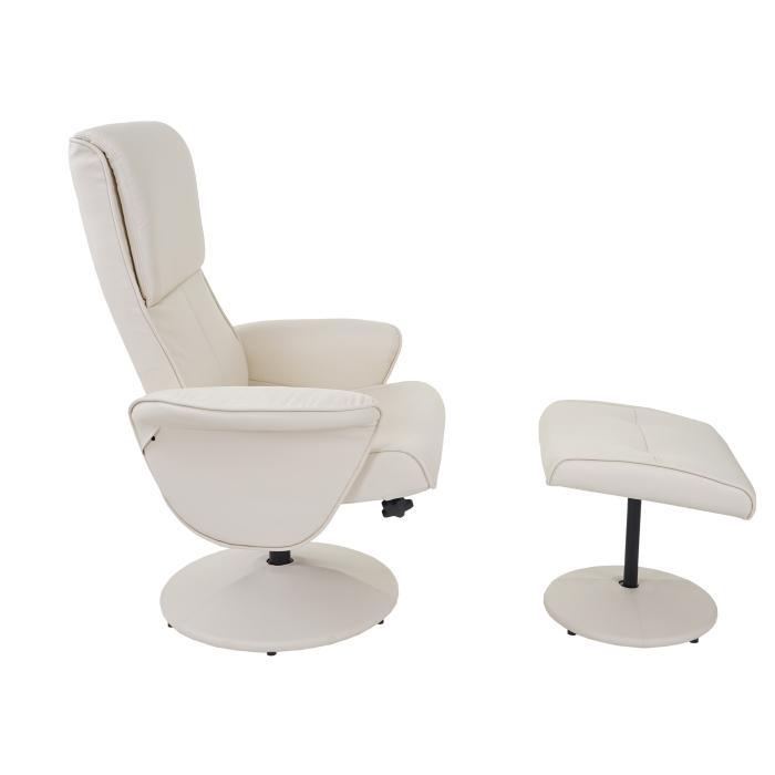 relaxsessel helsinki fernsehsessel relaxliege tv sessel mit hocker kunstleder creme. Black Bedroom Furniture Sets. Home Design Ideas
