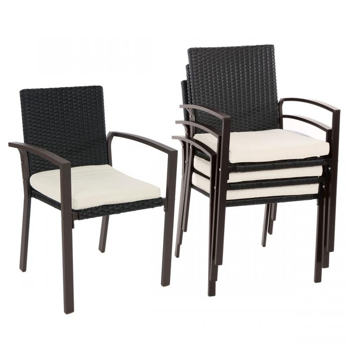 4x poly rattan gartenstuhl palma ii stapelstuhl rattanstuhl inkl sitzkissen anthrazit. Black Bedroom Furniture Sets. Home Design Ideas