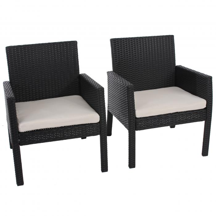 2x poly rattan sessel gartensessel sanremo inkl sitzkissen anthrazit. Black Bedroom Furniture Sets. Home Design Ideas