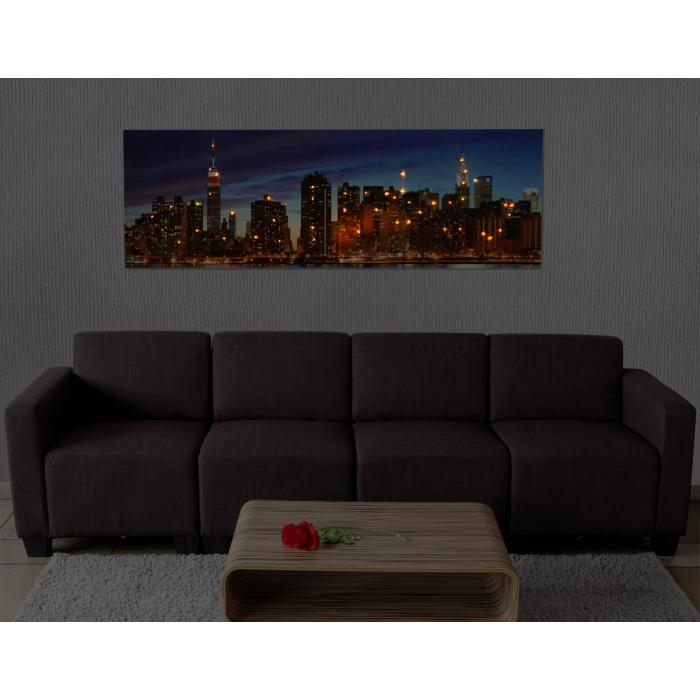 led bild mit beleuchtung leinwandbild leuchtbild wandbild timer 120x40cm new york flackernd. Black Bedroom Furniture Sets. Home Design Ideas