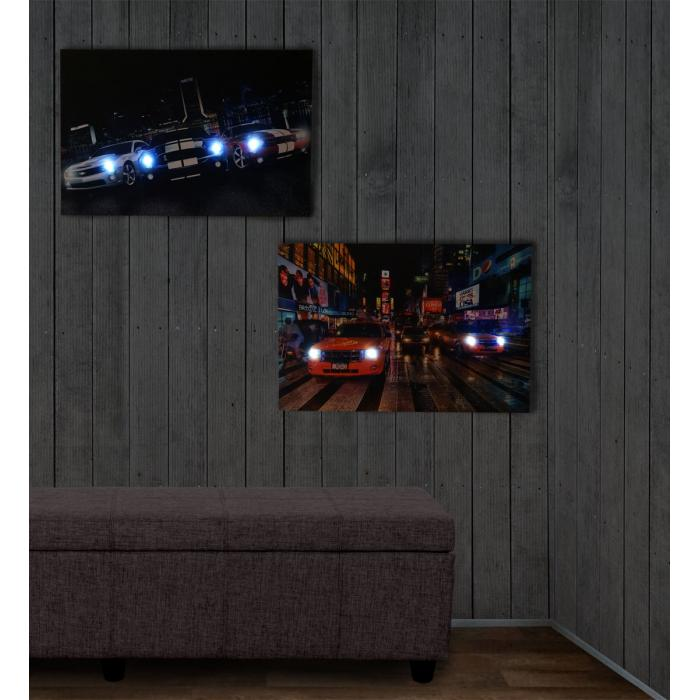 2x led bild mit beleuchtung leinwandbild leuchtbild wandbild 60x40cm timer cars. Black Bedroom Furniture Sets. Home Design Ideas