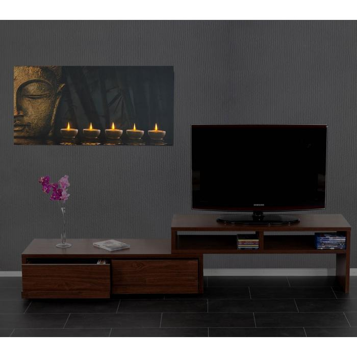 led bild mit beleuchtung leinwandbild leuchtbild wandbild timer 110x55cm buddha flackernd. Black Bedroom Furniture Sets. Home Design Ideas