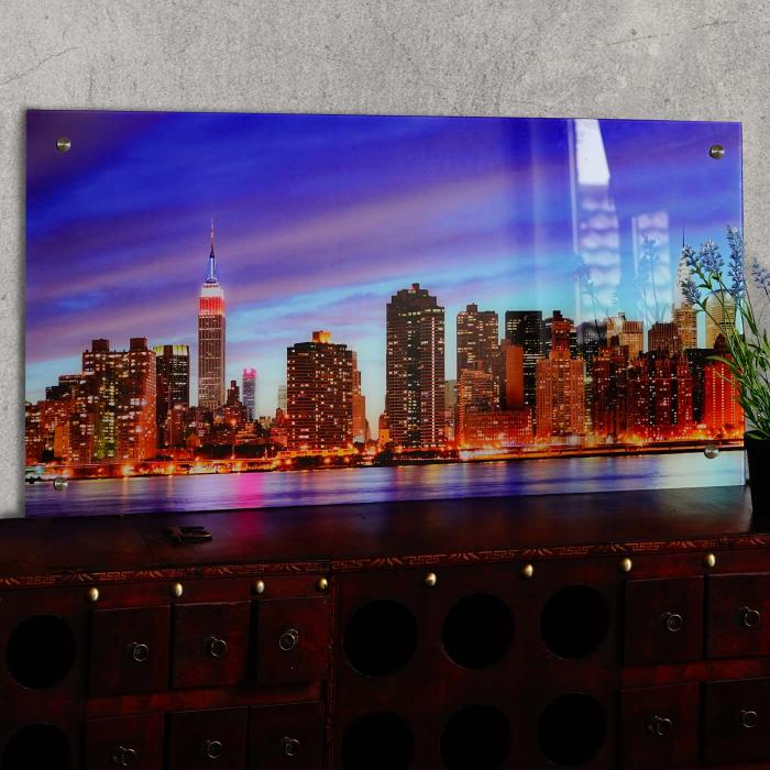 Glasbild t115 wandbild poster motiv 50x100cm new york - Wandbild new york ...