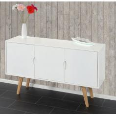 Kommode Malm� T258, Schrank Sideboard, Retro-Design 70x120x40cm ~ wei�e Front