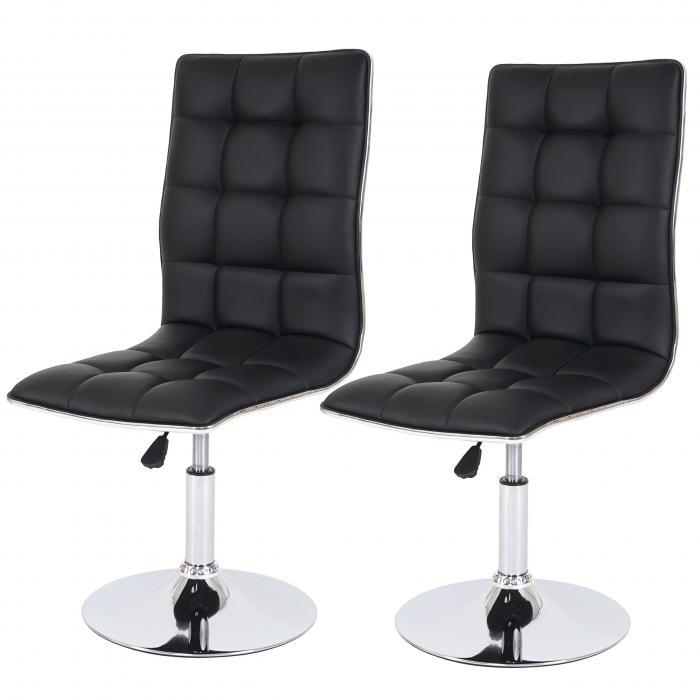 2x esszimmerstuhl hwc c41 stuhl lehnstuhl h henverstellbar drehbar kunstleder schwarz. Black Bedroom Furniture Sets. Home Design Ideas