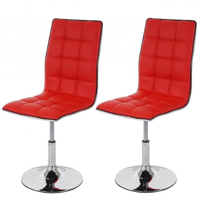 2x Esszimmerstuhl HWC-C41, Stuhl Lehnstuhl, höhenverstellbar drehbar, Kunstleder ~ rot