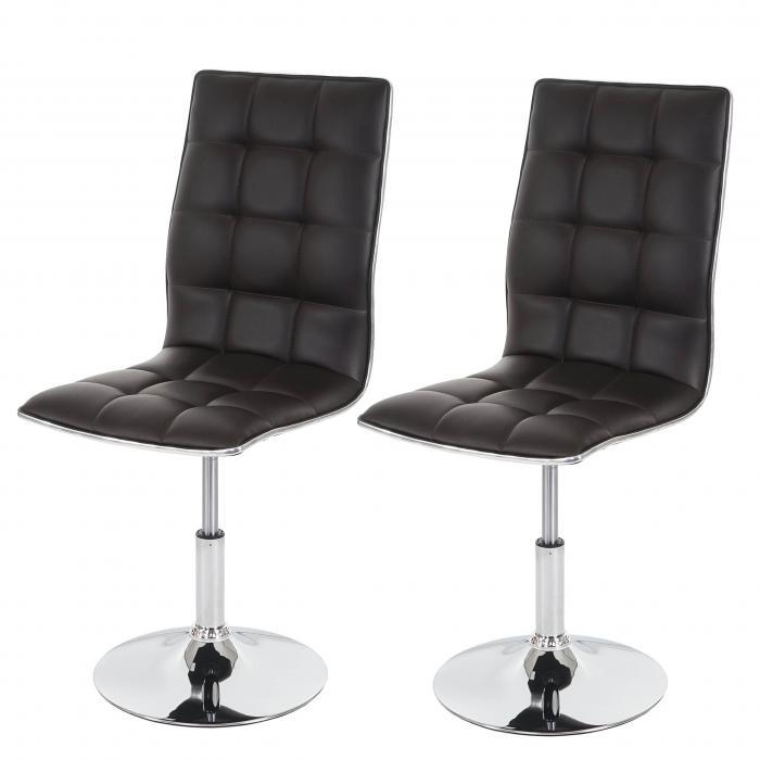 2x esszimmerstuhl hwc c41 stuhl lehnstuhl h henverstellbar drehbar kunstleder braun. Black Bedroom Furniture Sets. Home Design Ideas
