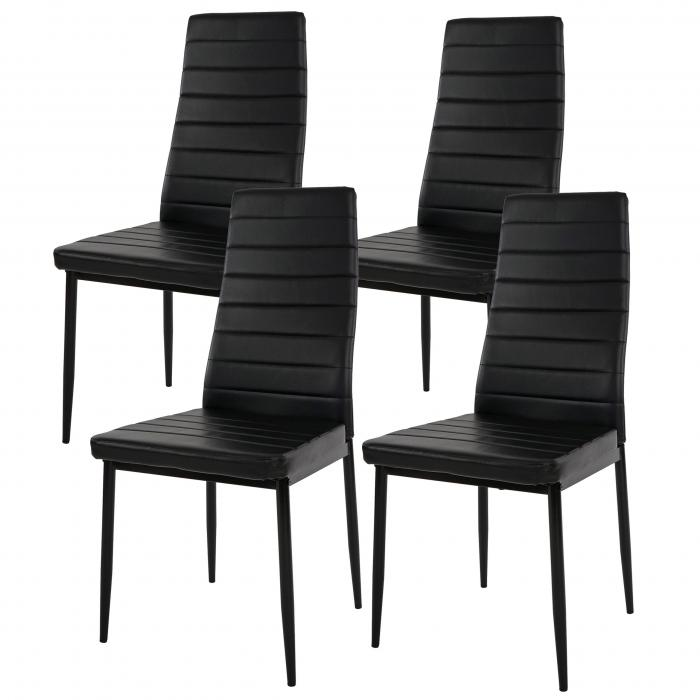 4x esszimmerstuhl lixa stuhl lehnstuhl kunstleder schwarz. Black Bedroom Furniture Sets. Home Design Ideas