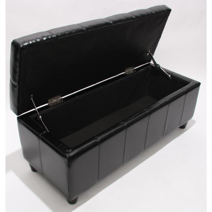 aufbewahrungs truhe sitzbank kriens leder kunstleder 112x45x45cm schwarz. Black Bedroom Furniture Sets. Home Design Ideas