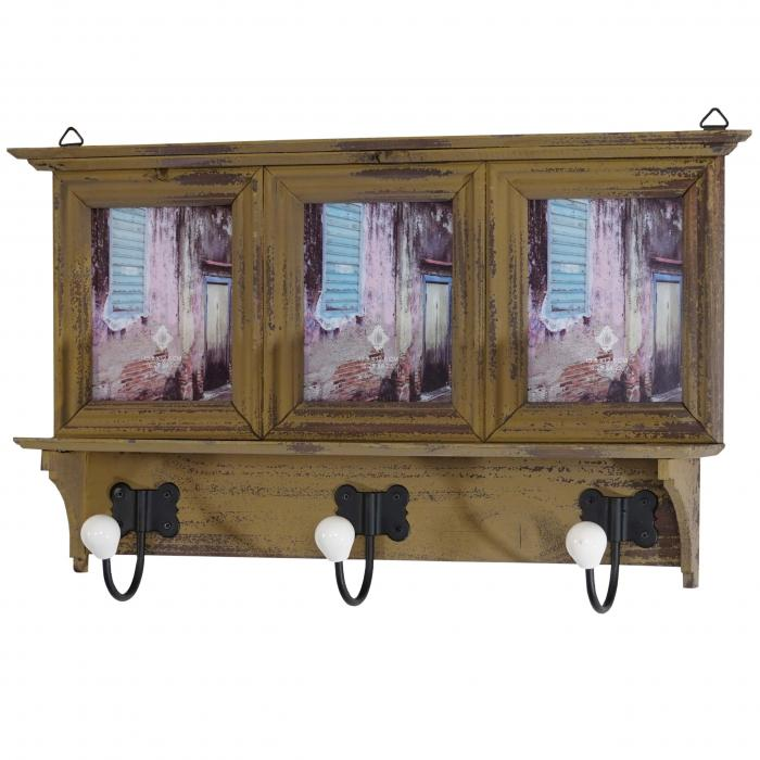 garderobe halifax wandgarderobe mit bilderrahmen 35x56x9cm shabby look vintage khaki. Black Bedroom Furniture Sets. Home Design Ideas