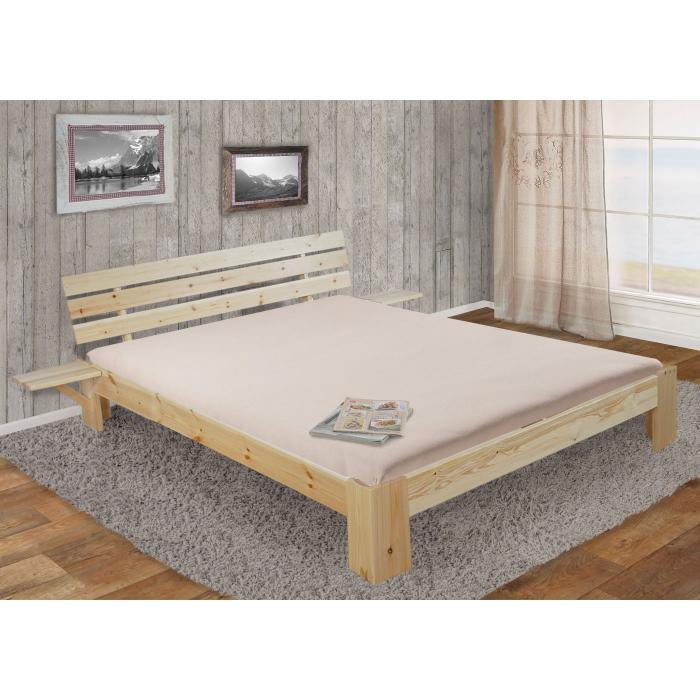bett perth doppelbett massivholz inkl lattenrost ablage kiefer 180x200cm natur lackiert. Black Bedroom Furniture Sets. Home Design Ideas