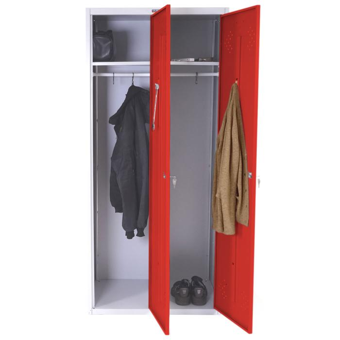 doppelspind valberg t338 kleiderspind umkleideschrank spind 183x81x50cm nach asr rot. Black Bedroom Furniture Sets. Home Design Ideas
