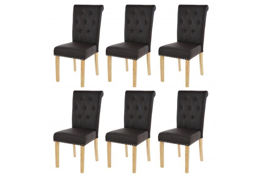 6x esszimmerstuhl chesterfield edinburgh ii coffee helle beine kunstleder ebay. Black Bedroom Furniture Sets. Home Design Ideas