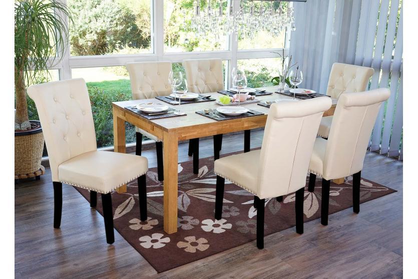 6x esszimmerstuhl chesterfield edinburgh ii creme dunkle beine kunstleder ebay. Black Bedroom Furniture Sets. Home Design Ideas