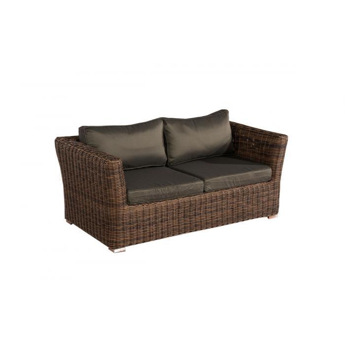 2er Sofa 2 Sitzer Sousse Poly Rattan Braun Meliert Mit Kissen In Anthrazit