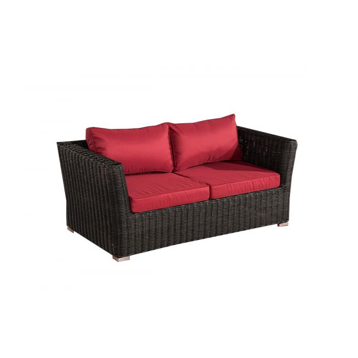 2er sofa 2 sitzer sousse poly rattan schwarz in rubinrot. Black Bedroom Furniture Sets. Home Design Ideas