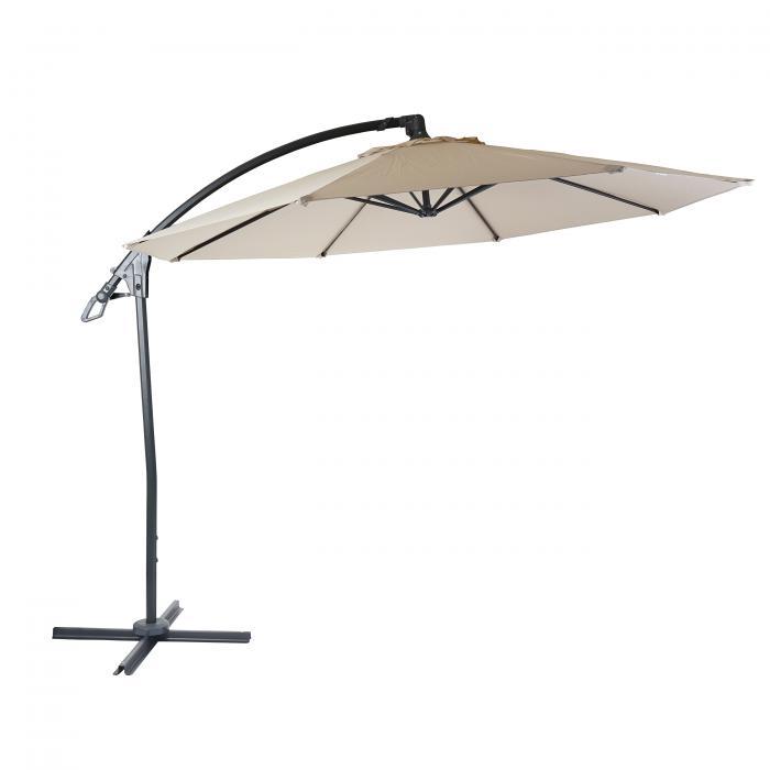 deluxe ampelschirm hwc d14 sonnenschirm rund 3m polyester alu stahl 14kg creme wei ohne. Black Bedroom Furniture Sets. Home Design Ideas
