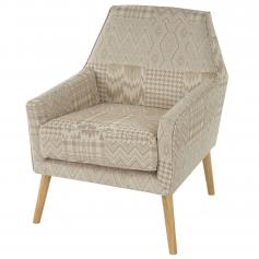 Sessel Malm� T372, Loungesessel Polstersessel, Retro 50er Jahre Design, Textil ~ beige/braun