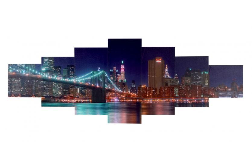 leinwandbild t375 wandbild keilrahmenbild kunstdruck 7 teilig 140x50cm new york. Black Bedroom Furniture Sets. Home Design Ideas