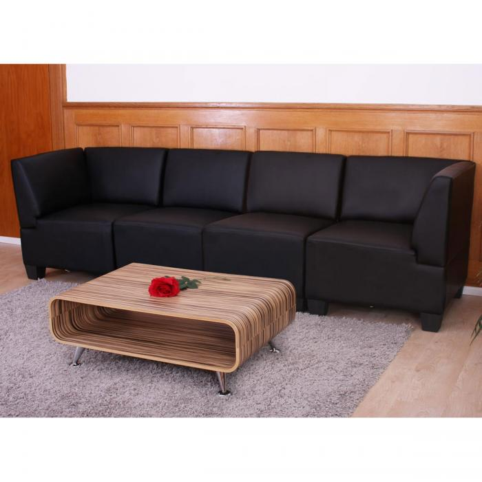 modular 4 sitzer sofa couch lyon kunstleder schwarz hohe armlehnen. Black Bedroom Furniture Sets. Home Design Ideas