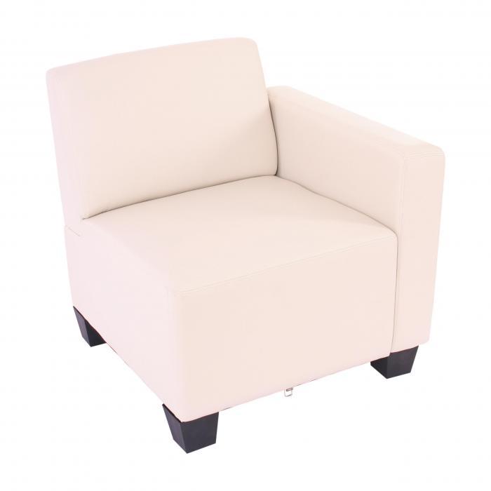 modular seitenteil rechts sessel mit armlehne lyon kunstleder creme. Black Bedroom Furniture Sets. Home Design Ideas
