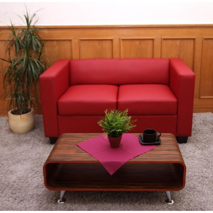 2er Sofa Couch Loungesofa Lille ~ Leder, rot