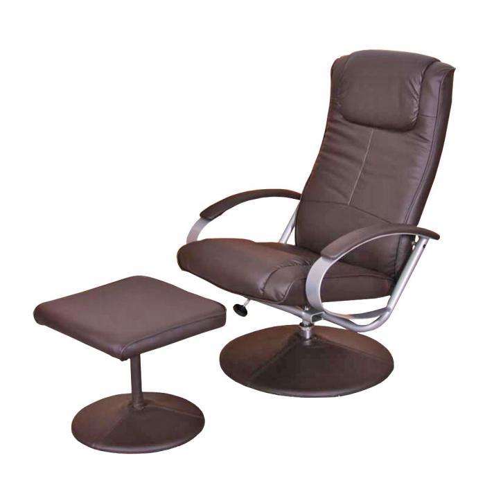 Relaxliege relaxsessel fernsehsessel n44 mit hocker braun for Fernsehsessel mit hocker