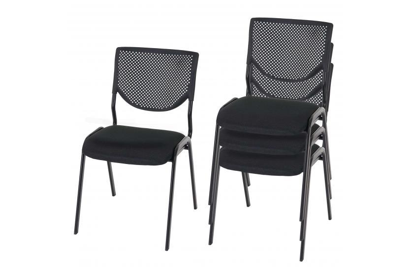 4x besucherstuhl h401 sitz schwarz f e schwarz konferenzstuhl textil ebay. Black Bedroom Furniture Sets. Home Design Ideas