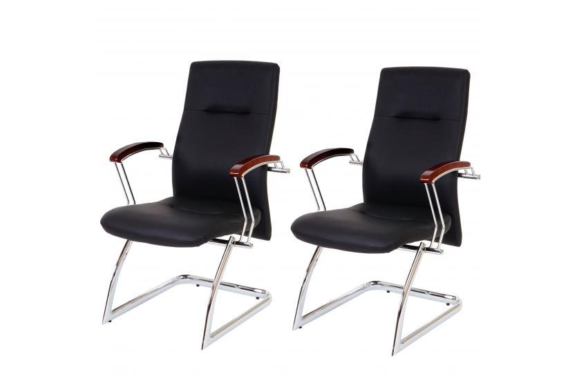 2x besucherstuhl belfast konferenzstuhl 95x57x70cm kunstleder schwarz ebay. Black Bedroom Furniture Sets. Home Design Ideas