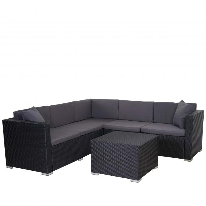 poly rattan sofa garnitur rom basic sitzgruppe lounge set stahl anthrazit kissen anthrazit. Black Bedroom Furniture Sets. Home Design Ideas