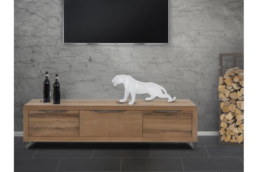 polyresin skulptur deko figur leopard 59cm puma panther in outdoor wei ebay. Black Bedroom Furniture Sets. Home Design Ideas