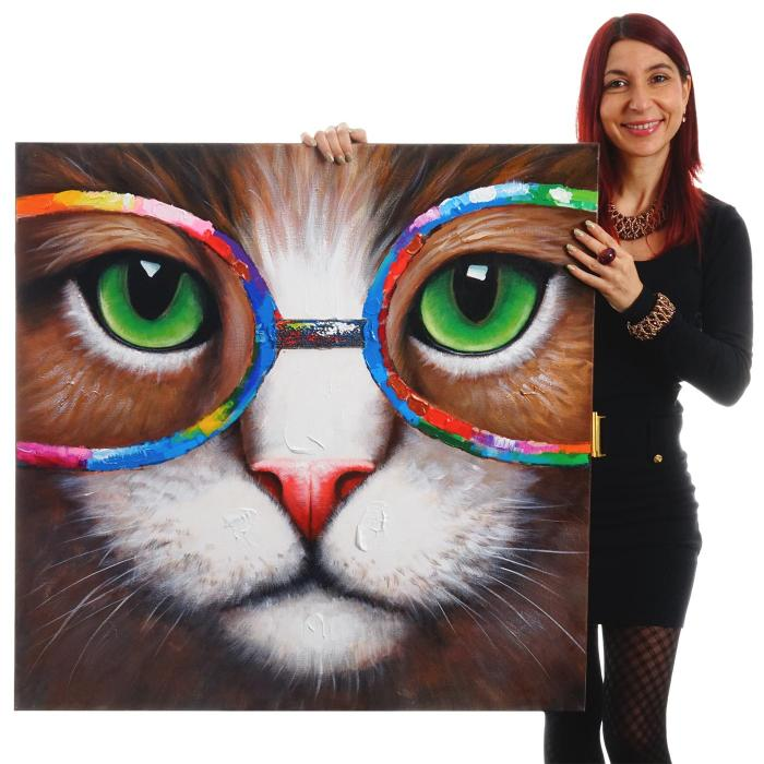 lgem lde hipster katze 100 handgemaltes wandbild 3d bild gem lde xl 90x90cm. Black Bedroom Furniture Sets. Home Design Ideas