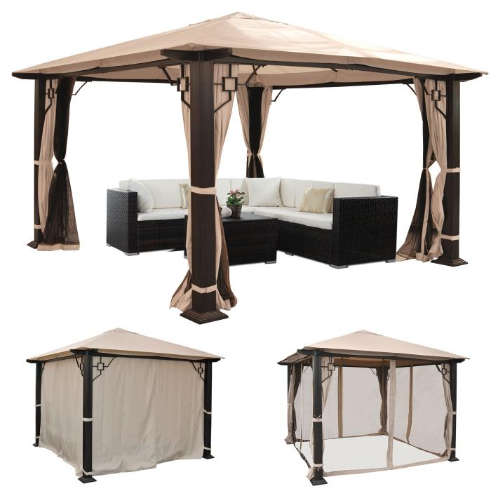 pergola mira garten pavillon 12cm luxus alu gestell mit seitenwand moskitonetz 3 5x3 5m. Black Bedroom Furniture Sets. Home Design Ideas