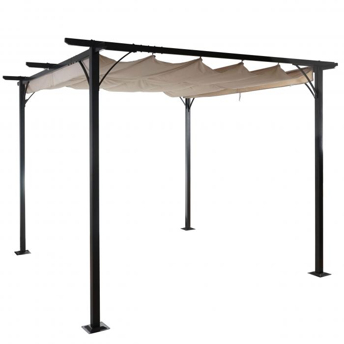 pergola hwc c42 garten pavillon stabiles 6cm gestell schiebedach 3x3m creme. Black Bedroom Furniture Sets. Home Design Ideas