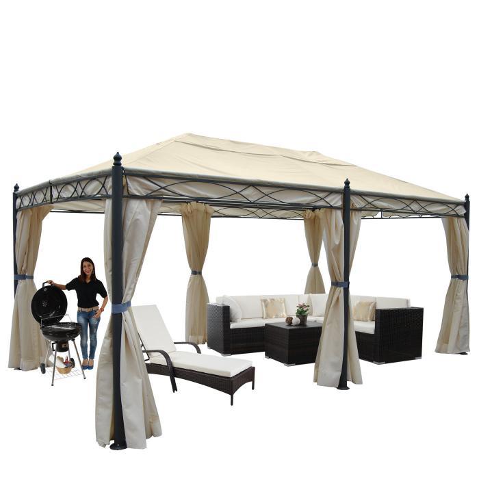 pergola cadiz pavillon stabiles 7cm gestell 5x3m creme. Black Bedroom Furniture Sets. Home Design Ideas