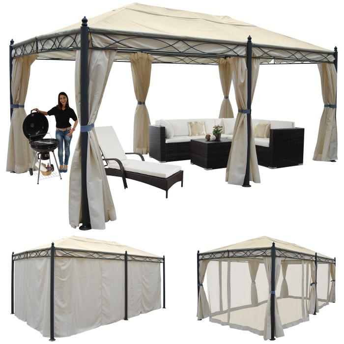 pergola cadiz pavillon stabiles 7cm gestell 5x3m creme mit seitenwand moskitonetz. Black Bedroom Furniture Sets. Home Design Ideas