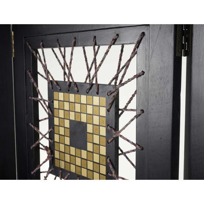 paravent antalya raumteiler trennwand sichtschutz ornamente schwarz 170x160cm. Black Bedroom Furniture Sets. Home Design Ideas