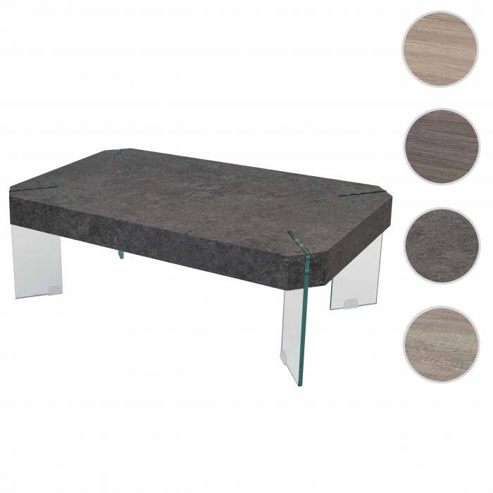 Kos T578, Wohnzimmertisch, Fsc 40x110x60cm ~ Beton-optik, Glas-füße Beton Wohnzimmertisch