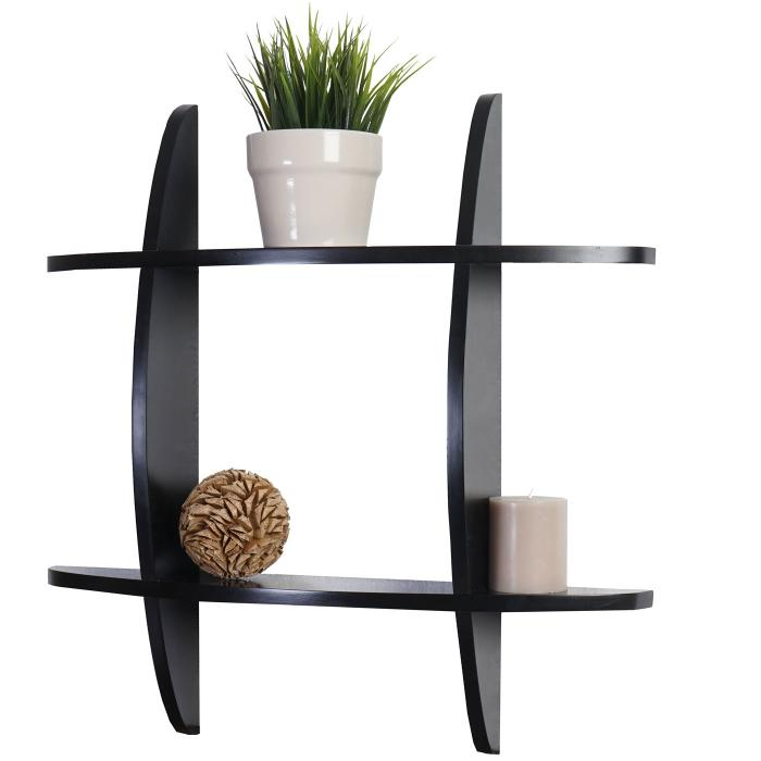 wandregal nantes h ngeregal b cherregal 60x60x12cm schwarz. Black Bedroom Furniture Sets. Home Design Ideas