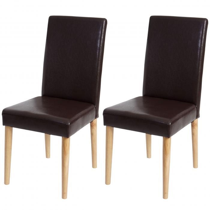 2x esszimmerstuhl leslau stuhl lehnstuhl kunstleder braun runde helle beine. Black Bedroom Furniture Sets. Home Design Ideas