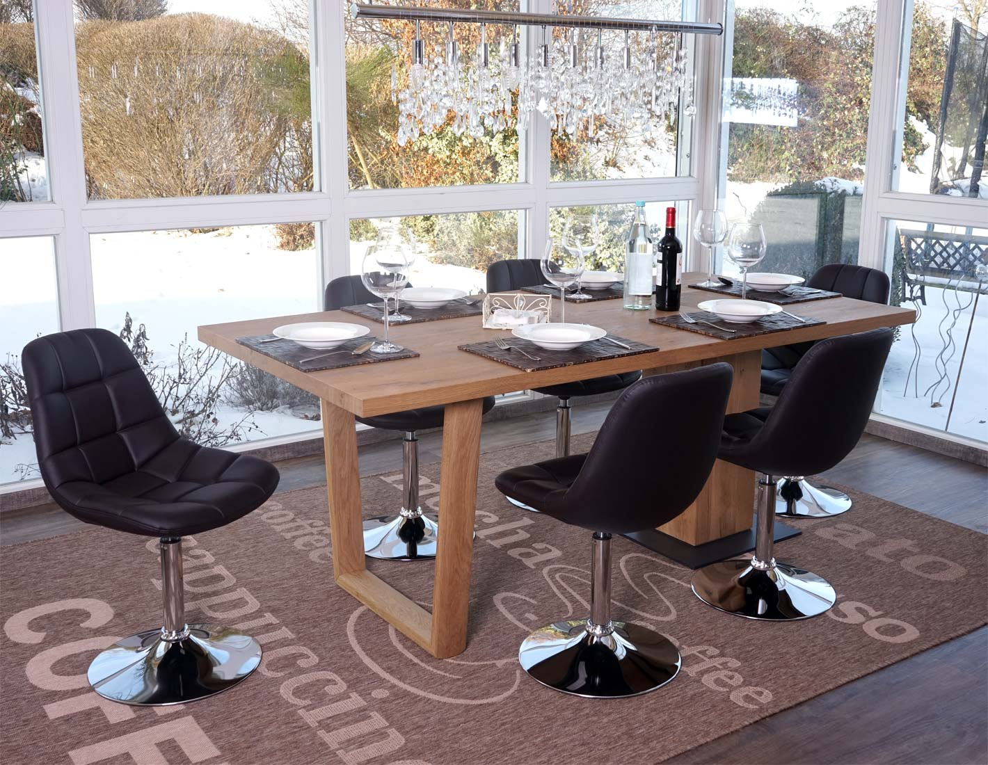 6x esszimmerstuhl pontedera stuhl drehstuhl chrom kunstleder braun ebay. Black Bedroom Furniture Sets. Home Design Ideas