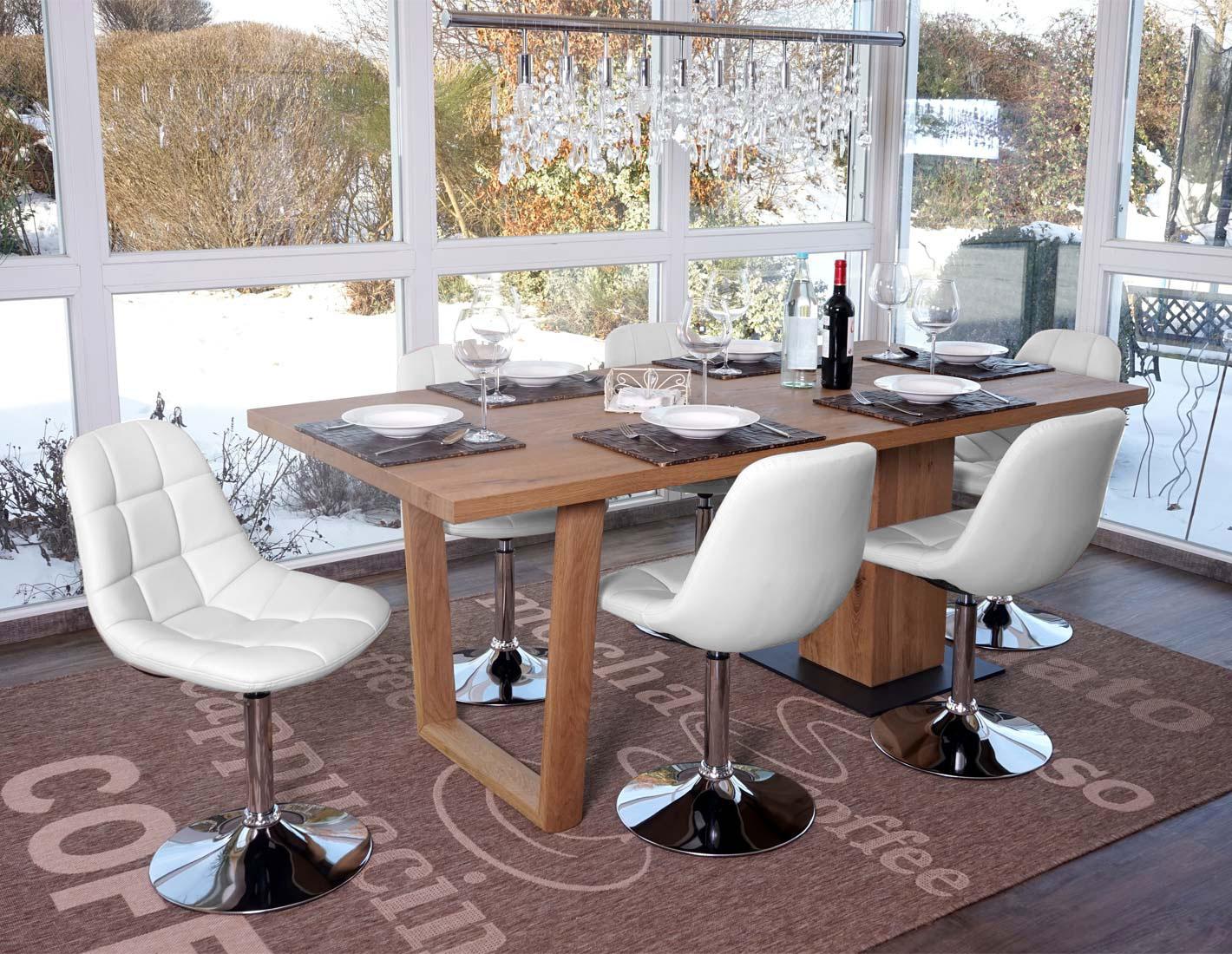 6x esszimmerstuhl pontedera stuhl drehstuhl chrom kunstleder wei ebay. Black Bedroom Furniture Sets. Home Design Ideas
