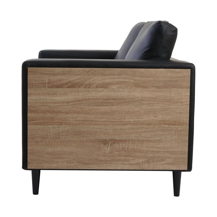 2er sofa nancy couch loungesofa holz eiche optik kunstleder schwarz. Black Bedroom Furniture Sets. Home Design Ideas