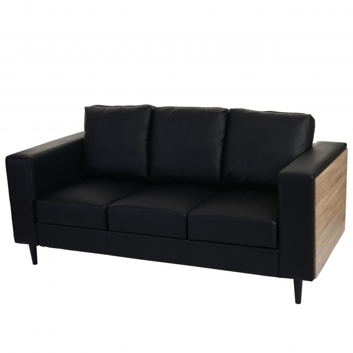 3er sofa nancy couch loungesofa holz eiche optik kunstleder schwarz. Black Bedroom Furniture Sets. Home Design Ideas